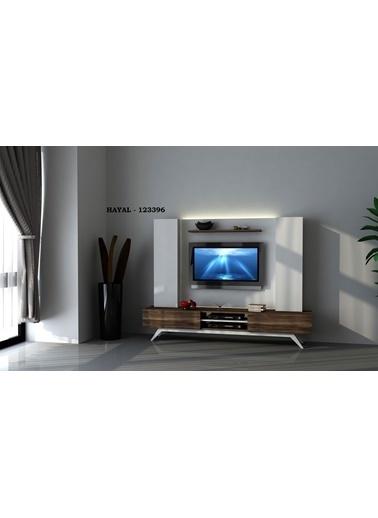 Sanal Mobilya Hayal 123396 Tv Ünitesi Leon Ceviz/Parlak Beyaz Beyaz
